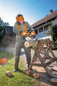 STIHL MS 170 Chainsaw and sawhorse