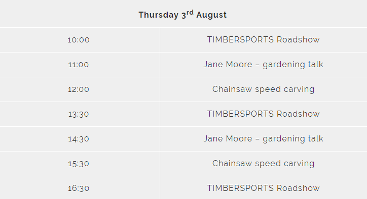 STIHL Countryfile Timetable