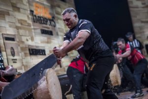 Jason Wynyard of New Zealand competes in the Single Buck discipline during the 2017 Stihl Timbersports World Championships in Lillehammer, Norway