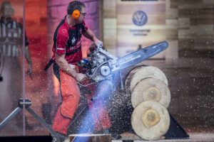 Mitch Hewitt of Canada competes in the Hot Saw discipline, where athletes use special chainsaws with over 60 horsepower weighing 30kg and with chain speeds of up to 260km/h during the 2017 Stihl Timbersports World Championships inNorway