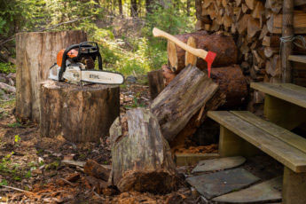 sawing your own firewood with a STIHL chainsaw