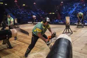 Team Australia competes during the Team Competition of the 2017 Stihl Timbersports World Championships in Norway