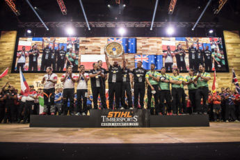 STIHL TImbersports team podium