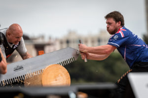 Jack Easen of Great Britain competes during the Stihl TIMBERSPORTS® Champions Trophy in Marseille, France on May 26, 2018.