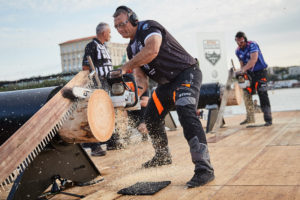 Jason Wynyard of New Zeland competes during the Stihl TIMBERSPORTS® Champions Trophy in Marseille, France on May 26, 2018.