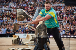 Mitch Argent of Australia competes during the Stihl TIMBERSPORTS® Champions Trophy in Marseille, France on May 26, 2018.