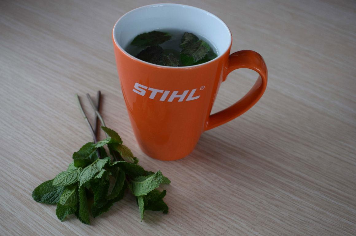 STIHL Mug with home grown tea leaves
