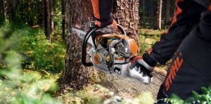 M-Tronic Chainsaw In Use
