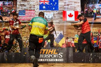 Australia TIMBERSPORTS team celebrate their victory
