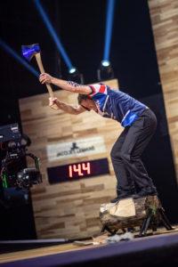 Elgan Pugh competes in Underhand Chop