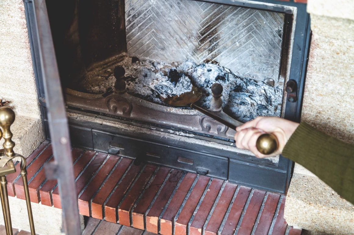 Wood ash fireplace