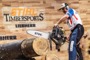 Martin Komarek competes in Hot Saw event