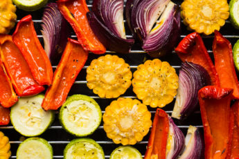 Grilled vegetables on the pan.