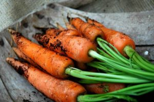 a bunch of carrots, a root vegetable.