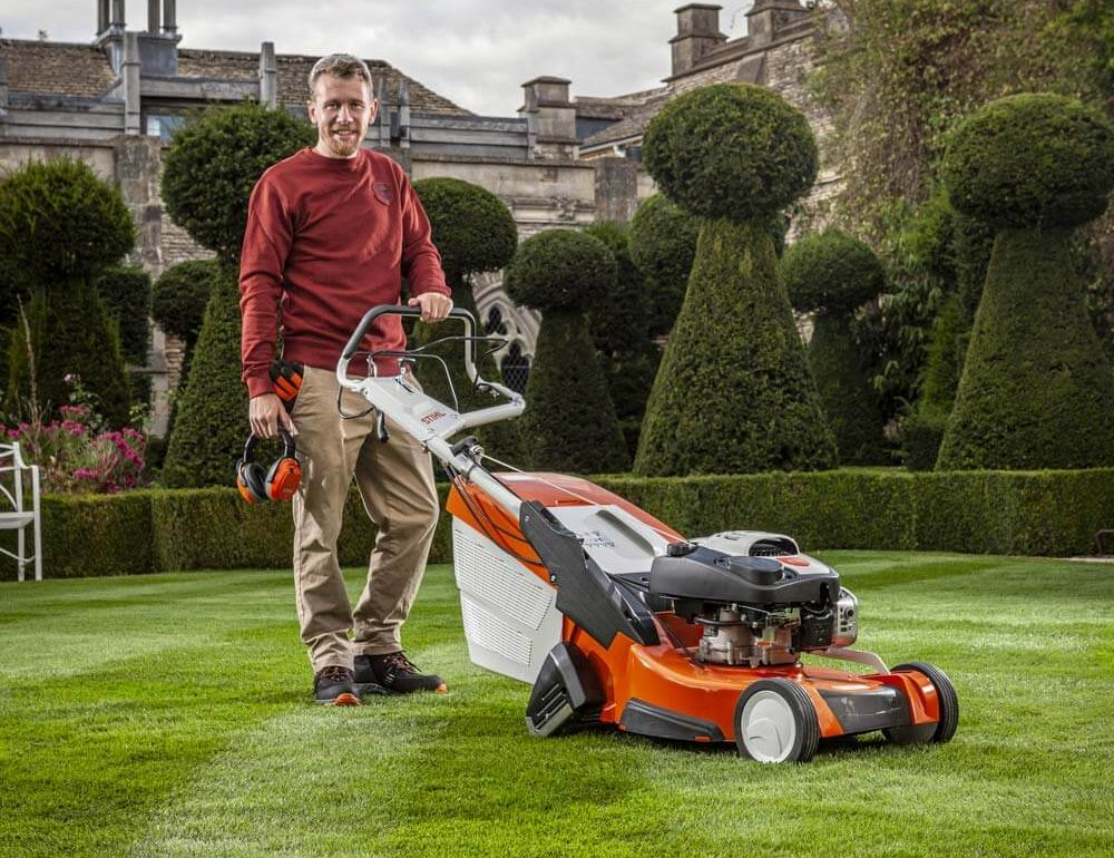 Andy Wain with a STIHL lawn mower