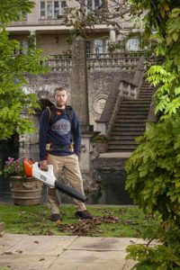 Andy Wain with a STIHL leaf blower
