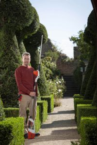 Andy Wain with a STIHL hedge trimmer