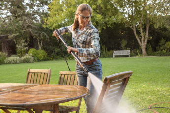 Use your RE 130 PLUS Pressure Washer to restore garden furniture