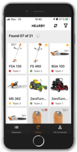 nearby products on the STIHL connected app
