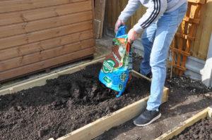 fill the garden beds with quality topsoil