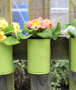 make your own tin plant pots to hang from your garden fence
