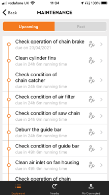 STIHL connected app maintenance interface