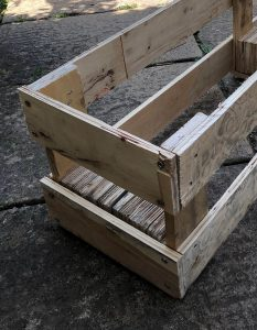 attach 3 planks to your pallet planter for extra support and to help with drainage
