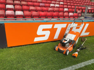 stihl lawn mower and grass cutter with the stihl connected attachment