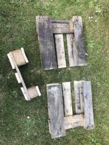 step 2 of making a pallet table