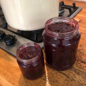 making jam with home grown fruits